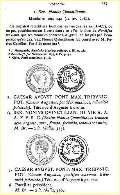"As d'Auguste ""des Monnayeurs"" A LICIN NERVA SILIAN III VIR A A A F Babelo11"