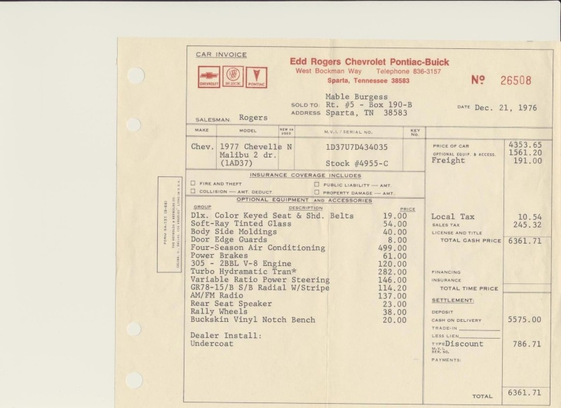 1977 Orig Documents And Build Sheet--pics 77chev11