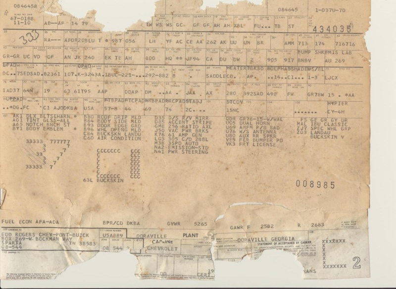 1977 Orig Documents And Build Sheet--pics Builds11
