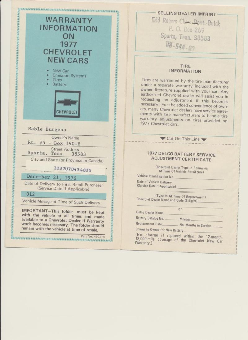1977 Orig Documents And Build Sheet--pics Warran10