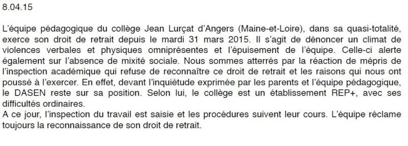 Angers - Collège Jean Lurçat : l'équipe éducative met fin aux 10 jours de blocage Colleg10
