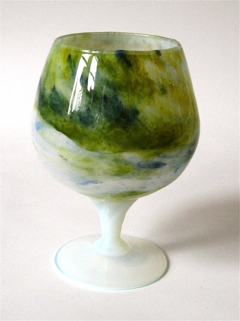 Unusual Hand Blown, Opalescent Snifter / Goblet Img_1415