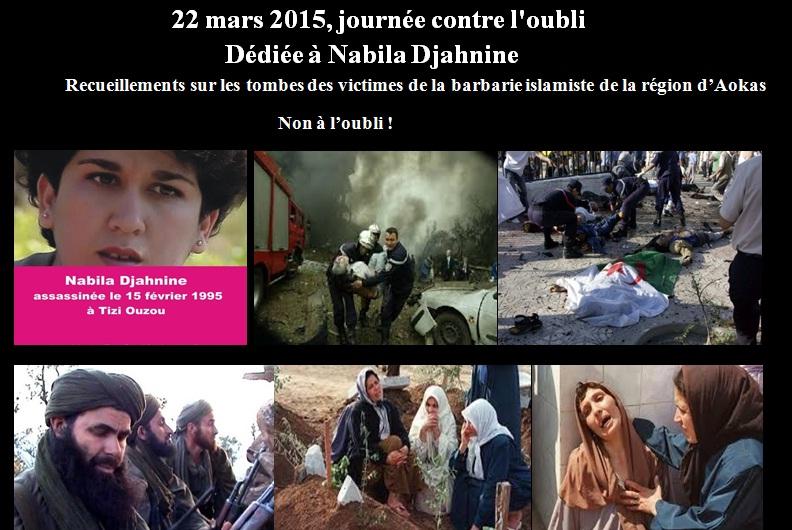 """Le collectif d'Aokas- """"Ajouad"""" Algerie Memoires: 22 mars 2015, journée contre l'oubli. dédiée à Nabila Djahnine.  7011"""