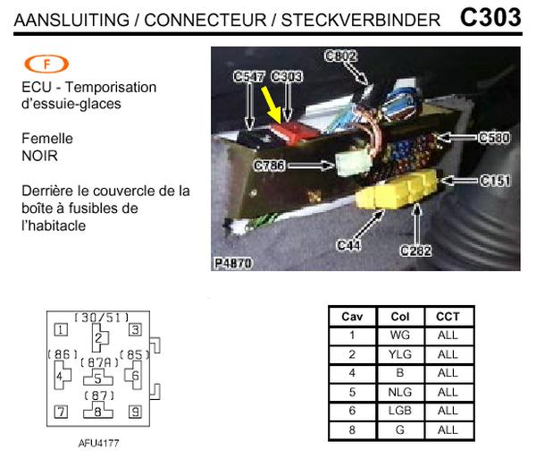 Defender 300Tdi: Principe de fonctionnement de l'intermittence et du retour à zéro des essuie-glaces C30310