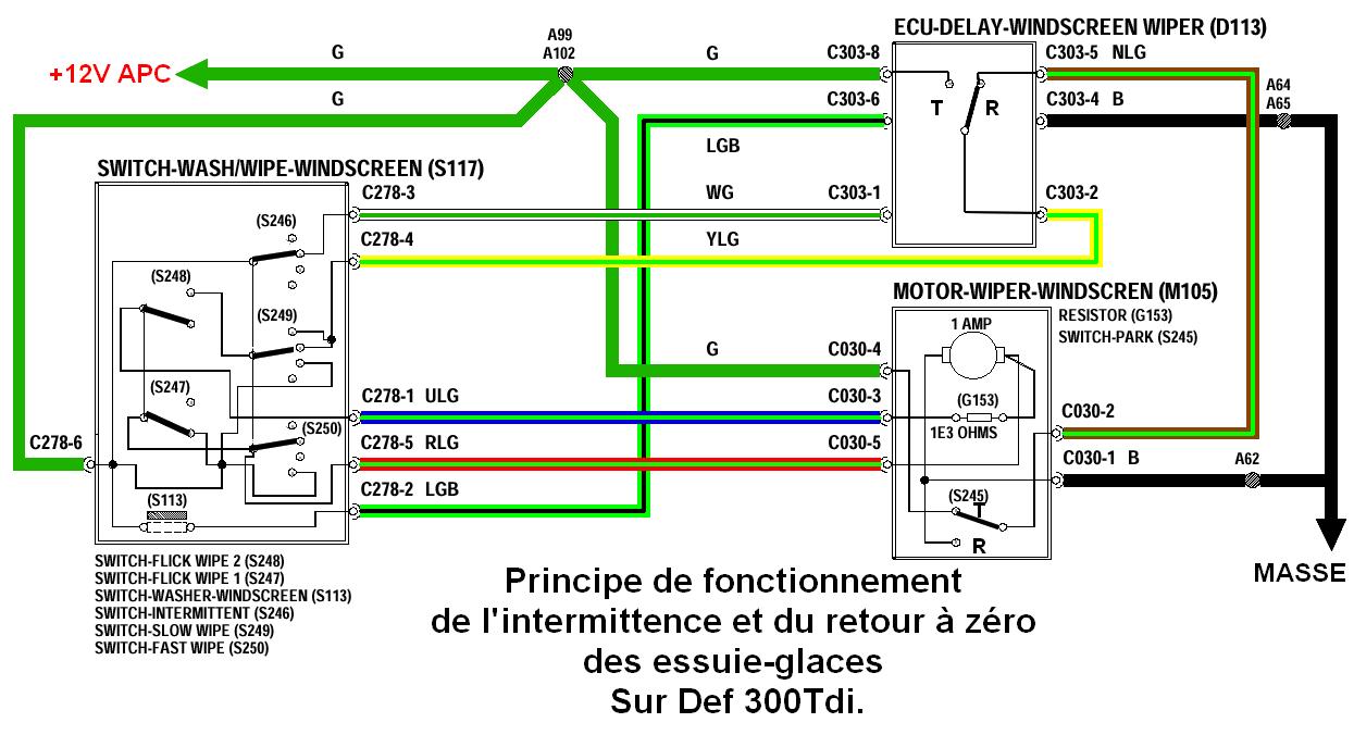 Defender 300Tdi: Principe de fonctionnement de l'intermittence et du retour à zéro des essuie-glaces Rt10