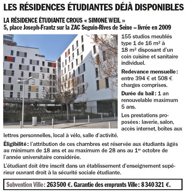 Informations sur la résidence étudiante Simone Weil  Clipbo25