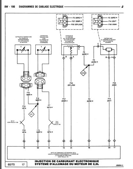 schéma électrique filaire du calculateur 2.5 L 1210