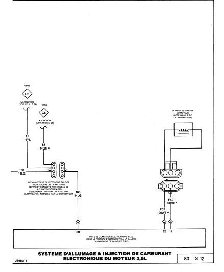 schéma électrique filaire du calculateur 2.5 L 410