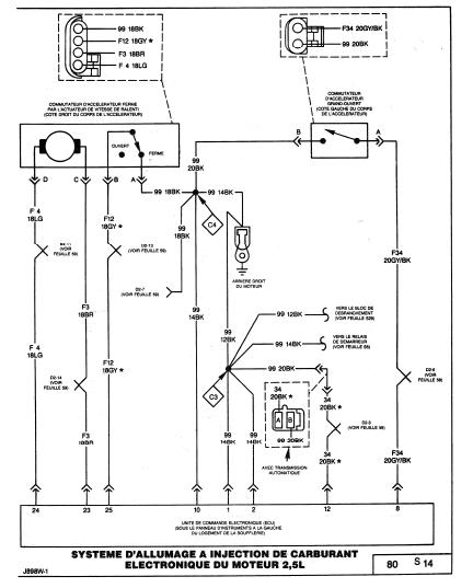 schéma électrique filaire du calculateur 2.5 L 610