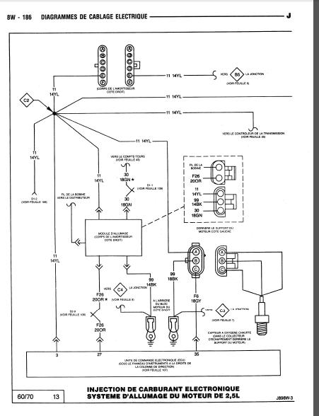 schéma électrique filaire du calculateur 2.5 L 810