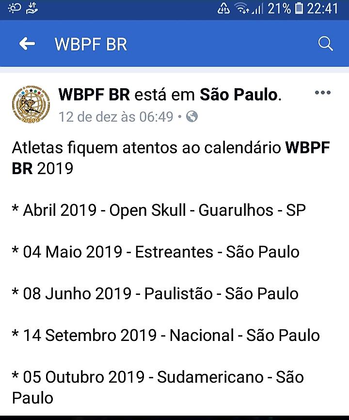 Campeonatos WBPF 2019 Whatsa10