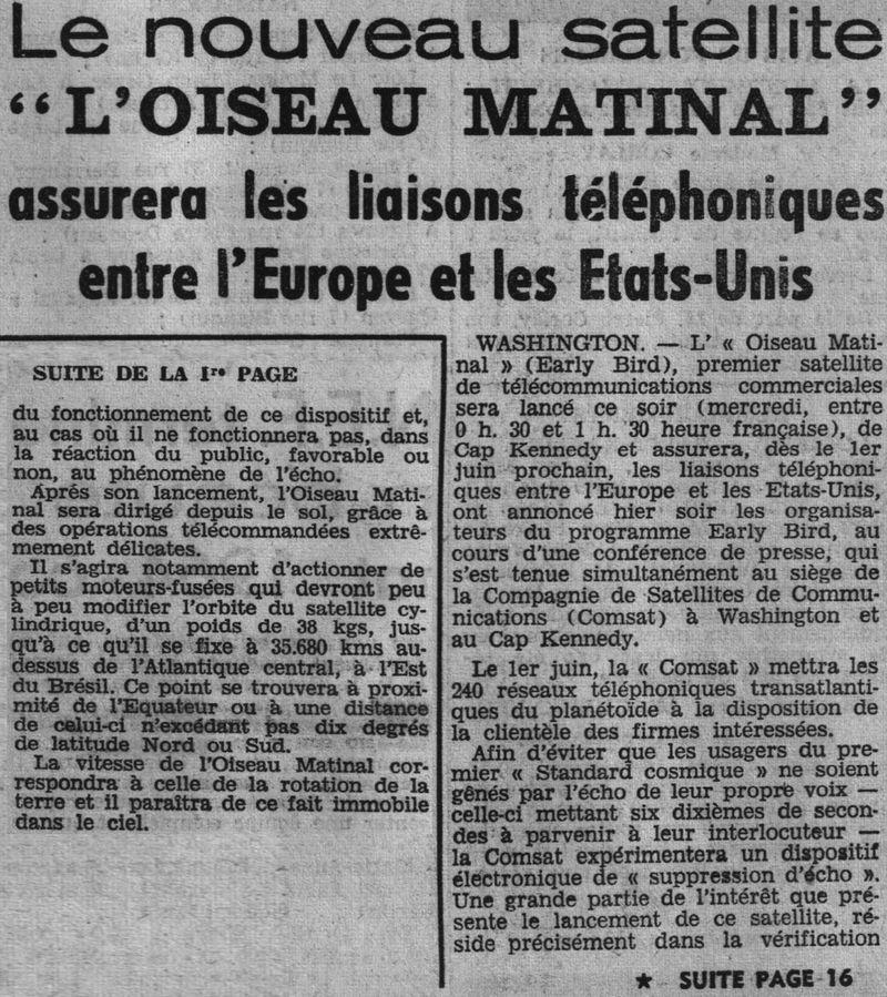 6 avril 1965 - Early Bird (INTELSAT 1) - La Mondovision 65040710