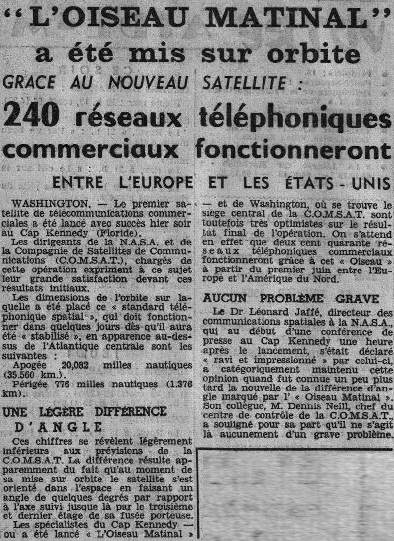 6 avril 1965 - Early Bird (INTELSAT 1) - La Mondovision 65040810