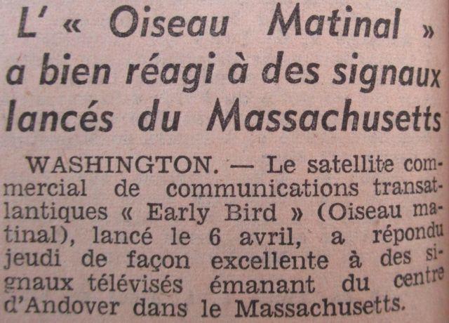 6 avril 1965 - Early Bird (INTELSAT 1) - La Mondovision 65041010