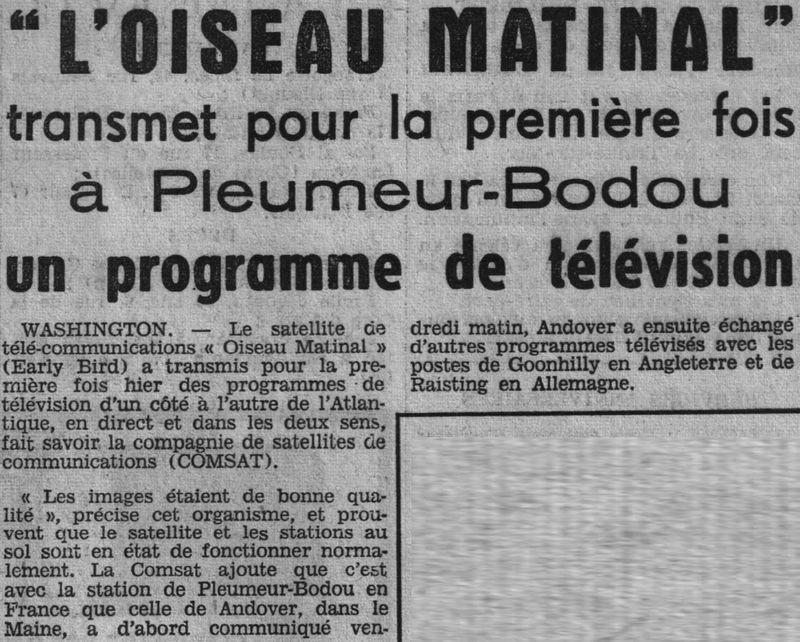 6 avril 1965 - Early Bird (INTELSAT 1) - La Mondovision 65042610