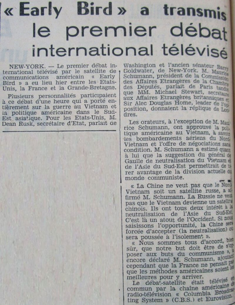 6 avril 1965 - Early Bird (INTELSAT 1) - La Mondovision 65050410