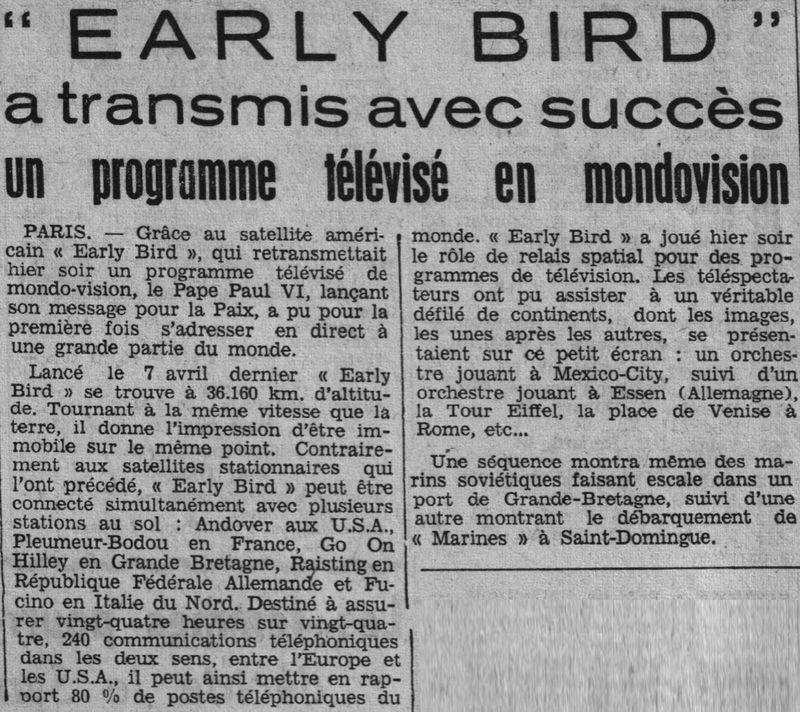 6 avril 1965 - Early Bird (INTELSAT 1) - La Mondovision 65050610