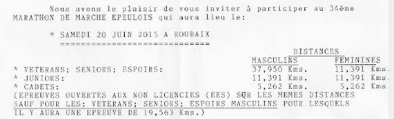 34 ème Marathon de Marche Épeulois; Roubaix (59): 20/06/2015 Marath10