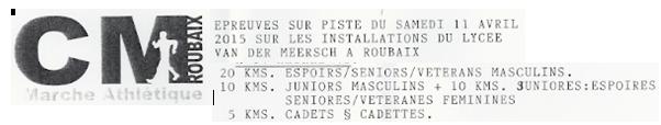 Roubaix: 20.000m, 10.000m, etc: 11/04/2015 Roubai10
