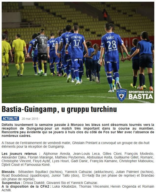J30 / Jeu des pronos - Prono Bastia-Guingamp S18
