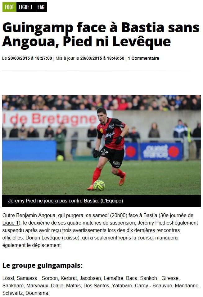 J30 / Jeu des pronos - Prono Bastia-Guingamp S20