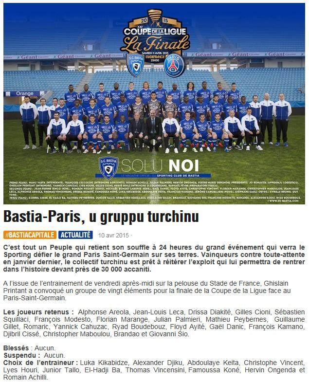 CdL Finale / Jeu des pronos - Prono Bastia-PSG S38