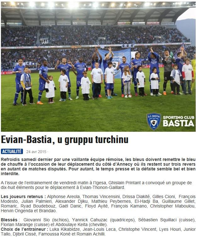 J34 / Jeu des pronos - Prono Evian-Bastia S65