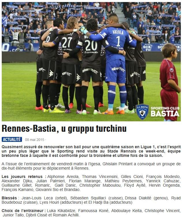 J36 / Jeu des pronos - Prono Rennes-Bastia S89