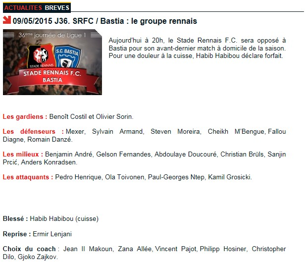 J36 / Jeu des pronos - Prono Rennes-Bastia S94