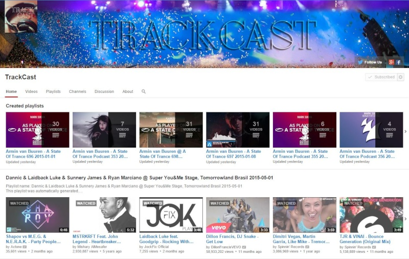 TrackCast - Automatically generated YouTube playlists 2015-010