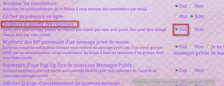 Comment recevoir les notifications du forum par mail Notifi10