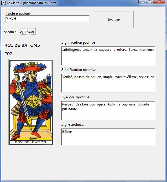 Le Glaive Alphanumérique du Tarot Roi20710