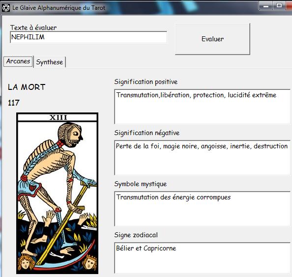 Le Glaive Alphanumérique du Tarot Nephil10