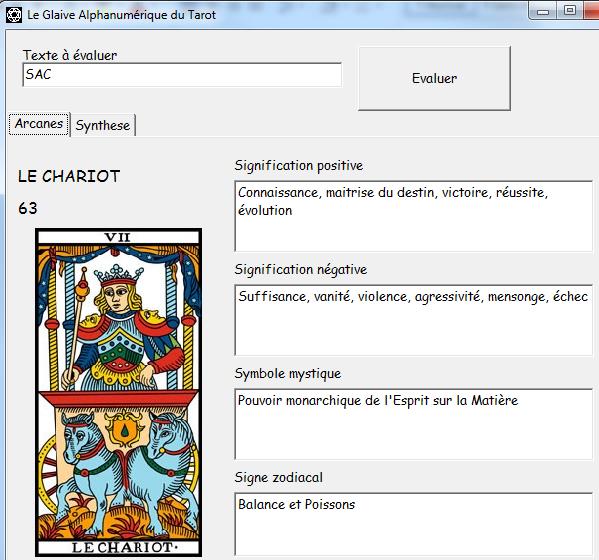 Le Glaive Alphanumérique du Tarot Sac310