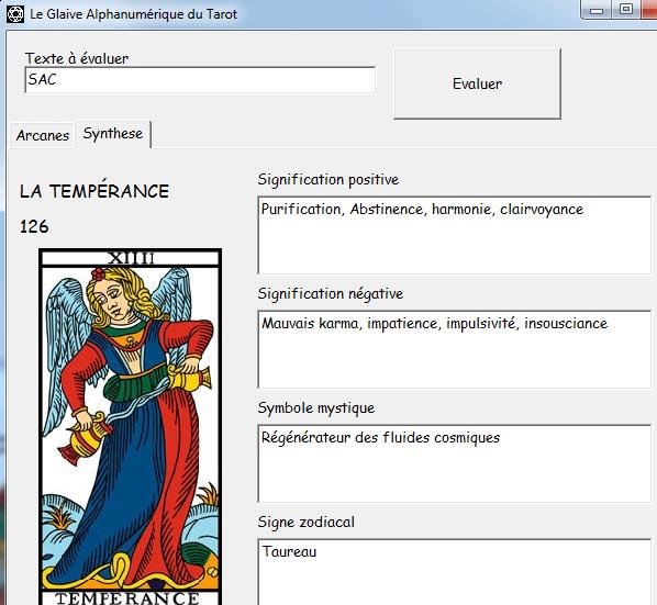 Le Glaive Alphanumérique du Tarot Sac410