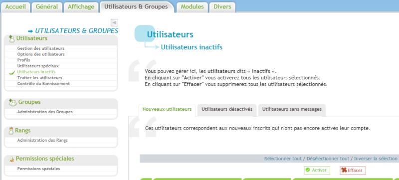 Nouveaux utilisateurs : Impossible de les visualiser dans le panneau d'administration Inacti12
