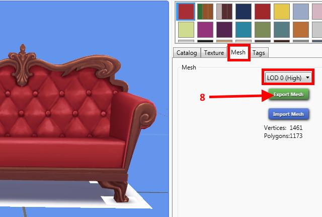 [Apprenti] Récupérer l'UV Map d'un objet pour faciliter sa recoloration   avec Sims 4 Studio   510
