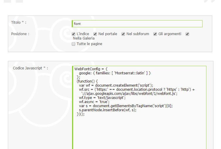 Javascript solo in alcune pagine per Font Google 110