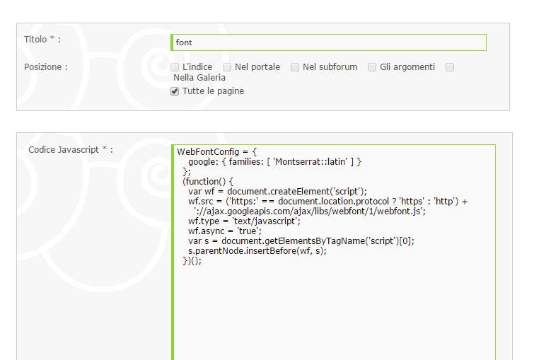 Javascript solo in alcune pagine per Font Google 210