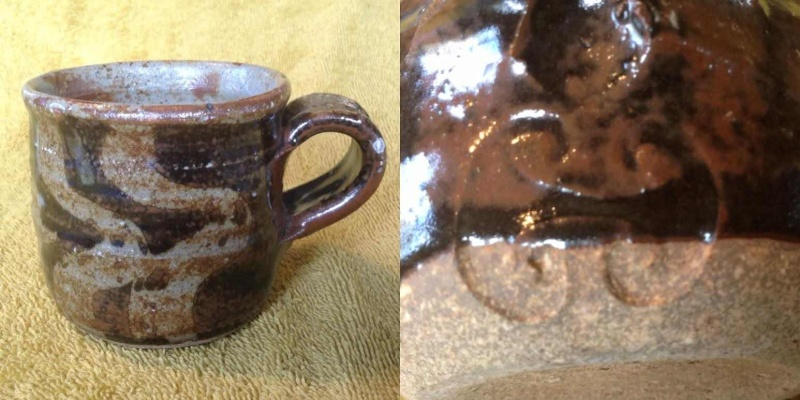 two mugs: David Huffman and unknown potter's mark Mug210