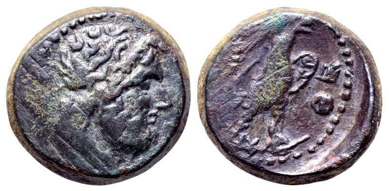 Monnaie grecque à l'aigle et Zeus Macédoine, Paroreia Eagle_11