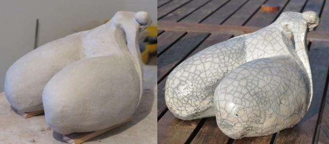 mise en valeur d'une sculpture par la finition de sa surface Raku10
