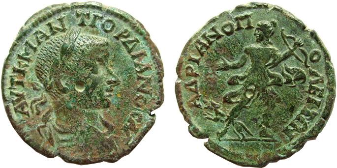 AE26 Tetrassarion de Gordien III, Hadrianopolis à identifier 211