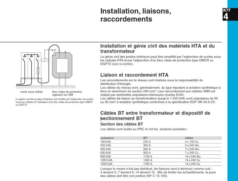 le nombre de cable entre le Transformateur et le TGBT Catalo10