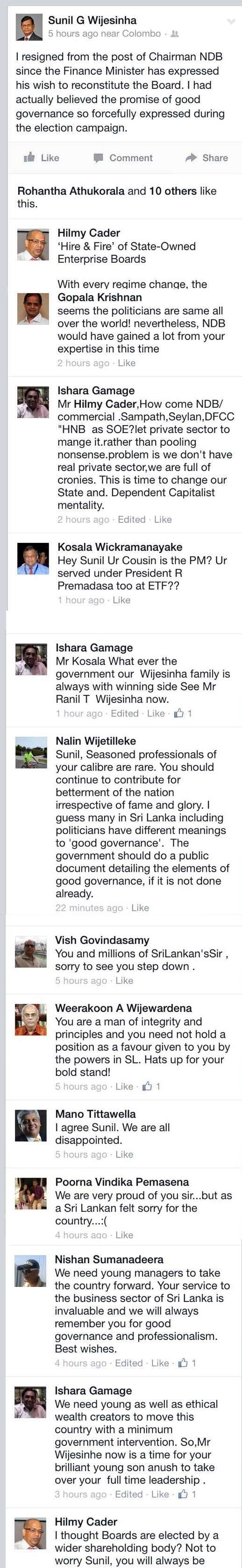 Exclusive - Sunil Wijesinha's fate at NDB decided by his Cousin Ranil Wickremasinghe - Views from People in the Sri Lanka's Cocktail Circles Sunil11