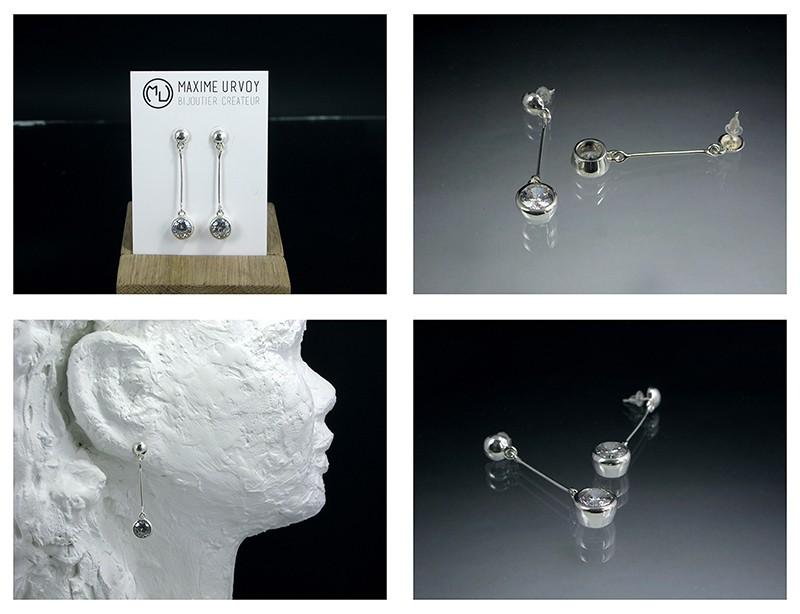 Boucles d'oreille en argent/oxyde de zirconium et petit reportage photo Ytape_20