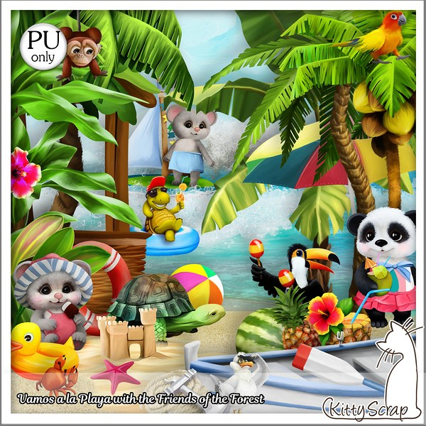 VAMOS A LA PLAYA WITH THE FRIENDS OF THE FOREST DE KITTYSCRAP dans Août kitty212