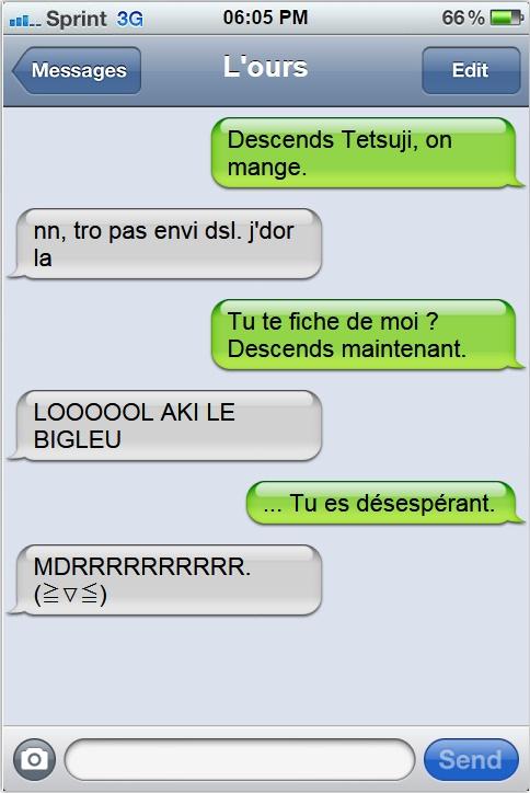 « En SMS, c'est toujours plus drôle. »  Akitet10