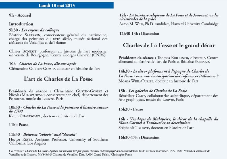 Charles de La Fosse et les arts en France 18-19 mai 2015 Colloq10