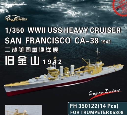 USS San Francisco 1942 au 1/350ème de Trumpeter + Set PE Flyhawk  35012211